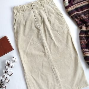 Vintage • high waist tan olive denim maxi skirt